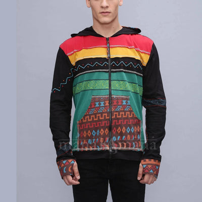 Men's Tribal Summer jacket - cotton Hoodie - festival jacket - mens unique colourful jacket (M,L,XL)