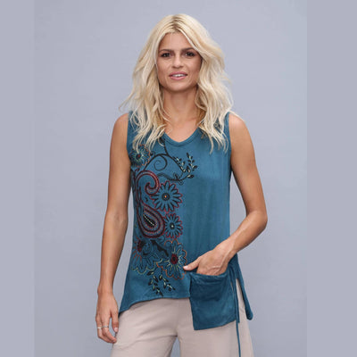 Boho Tank Top, washed cotton blouse embroidery , sleeveless tunic with pocket, Damenoberteil mit Stickereien