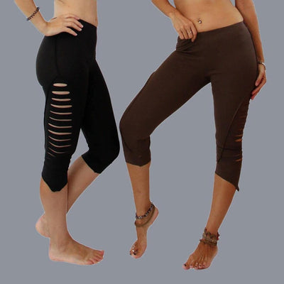 Cropped leggings , Ripped leggings , Pixie Leggings - Organic cotton - Party - Women - Gothic - psytrance goa- Punk - Cut Out