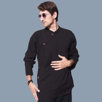 Mens full sleeve Tibetan style shirt, handwoven Khadi Tribal Kurta Hippie Yoga shirt - ASSORTED COLORS