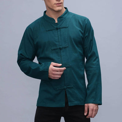 Mens long sleeve Chinese style shirt  -Cotton Ethnic Kurta Hippie Plain marshal arts - Assorted colors
