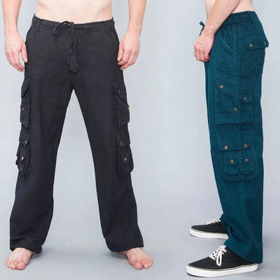 Mens Summer cargo pants, Cotton Multi Pockets Trousers -  Thin cotton workwear, utility pants