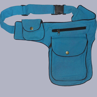Utility belt  - Pockets - Belt Bag - Festival Bag - Cotton mens pocket belt - Green - Blue