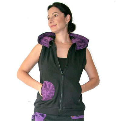 Warm Hooded Vest,  Sleeveless cotton hooded Jacket with Fleece lining -Purple Festival Vest - Women