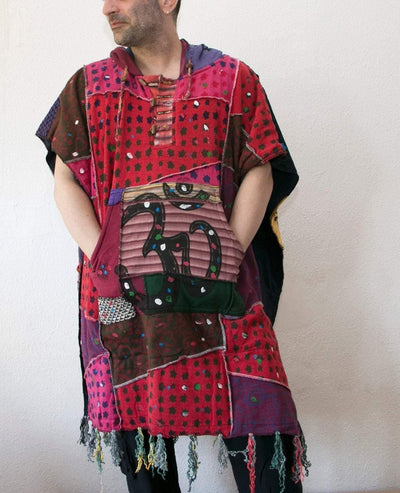 Patchwork Hippie Poncho with Fleece lining - Warm Hooded patchwork poncho  - Hippie