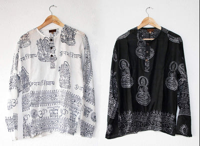 Black Yoga shirt with Hindu prints, Summer Top made of Very Light cotton - SIZE L
