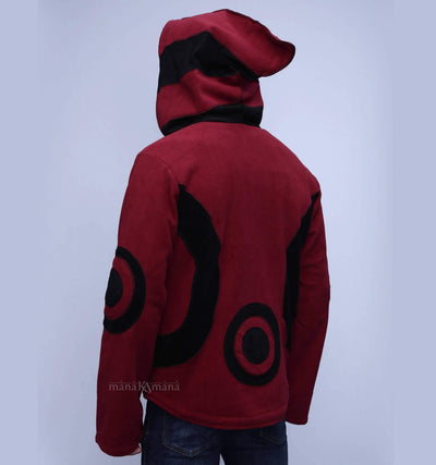 Burgundy Pixie Jacket  Fleece Hippie Elf Hoodie Unisex - Unisex hippie coat