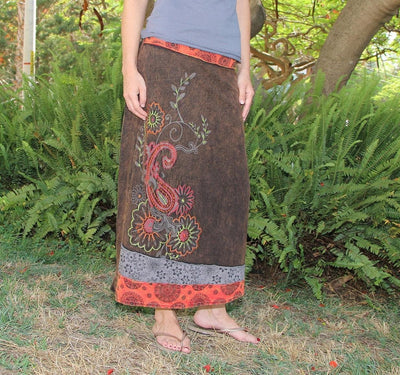 Long Patchwork cotton Skirt with Embroidery -  Boho maxi skirt  - hippie skirt