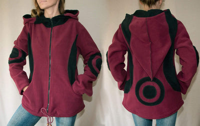 Fleece Pixie Coat  | Burgundy Unisex hippie coat / Very warm- Fleece Kapuzenpullover mit Reisverschluss