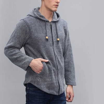 Zipped hooded cardigan - 100% cotton woven jacket - stonewashed