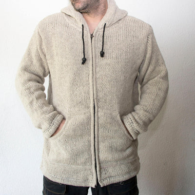 Wool Knit Ski Jacket with Fleece Lining, Cardigan with zip |  Natural Uncoloured wool sweatshirt- Warm - Strickpulli mit Kapuze und Fleece