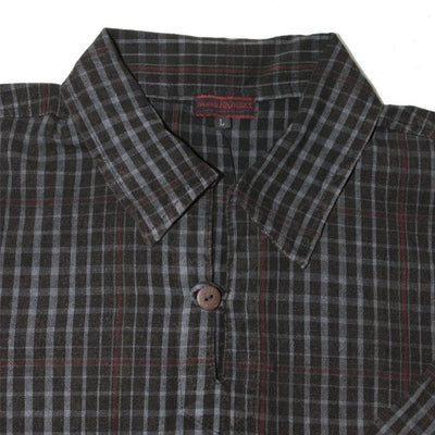 Mens shirt with pockets , plaid shirt - hipster cotton pullover with pockets- check  shirt