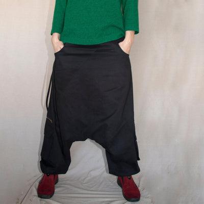 Twill Harem Pants, Winter Drop crotch pants, Thick cotton Boho Afghani Pants, Alibaba Pants