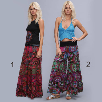 Light Palazzo pants , Tiered pants skirt , Boho Wide Pants, Summer bell bottom pants, hippie flares