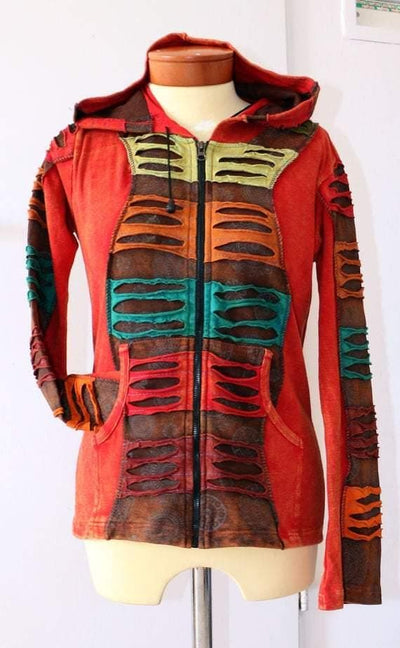 Orange Hippie Jacket , Kathmandu Hooded Hippy summer jacket - Patchwork- Cotton