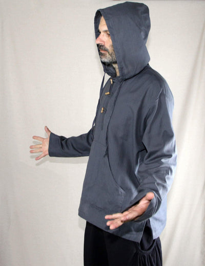 Hippie shirt, Cotton Hooded Long sleeve Boho kurta  - Baja style shirt - Hippie Grandad Ethnic hoodie - Assorted colors