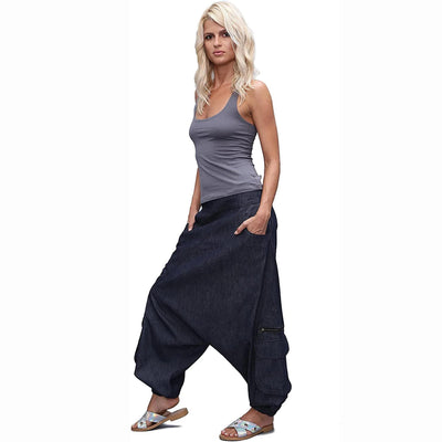 Jeans Harem Pants, Drop crotch pants,  Denim Boho Afghani Pants, Alibaba Pants