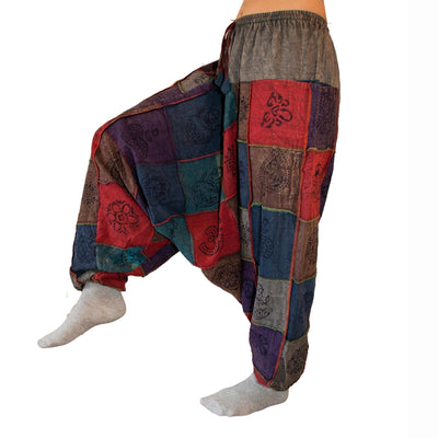 Festival Patchwork Harem Pants with pockets for men and women , Cotton hippie yoga pants - Every pair one of a kind -Harem Hose