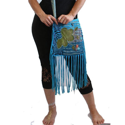 Teal Boho  Shoulder Bag - Bohemian chic hippy bag - Cotton  - Woman
