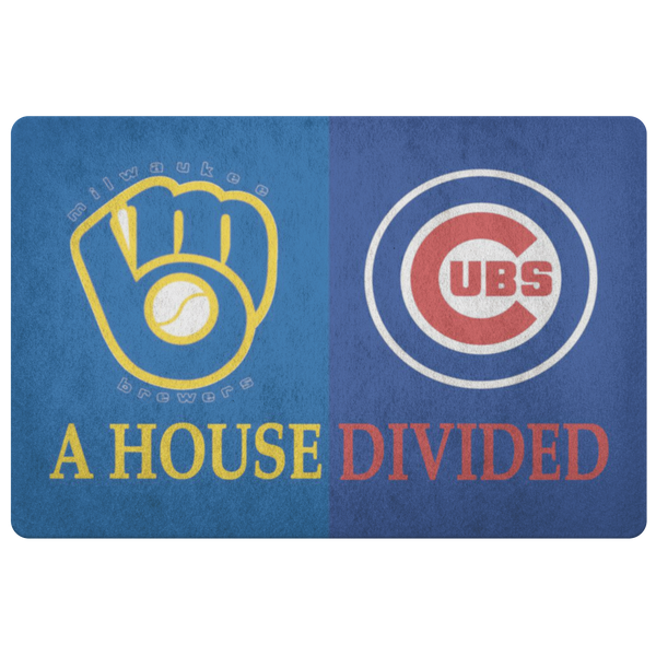 Brewers Cubs Baseball House Divided Doormat - silverageproducts.com