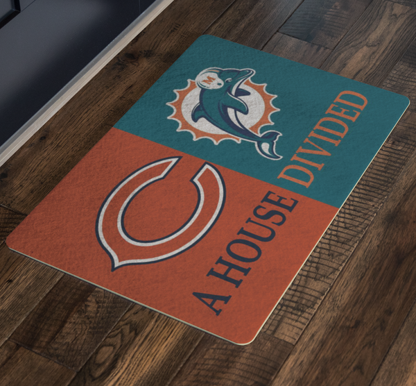 House Divided Man Cave Decor and Dolphins Doormat - silverageproducts.com