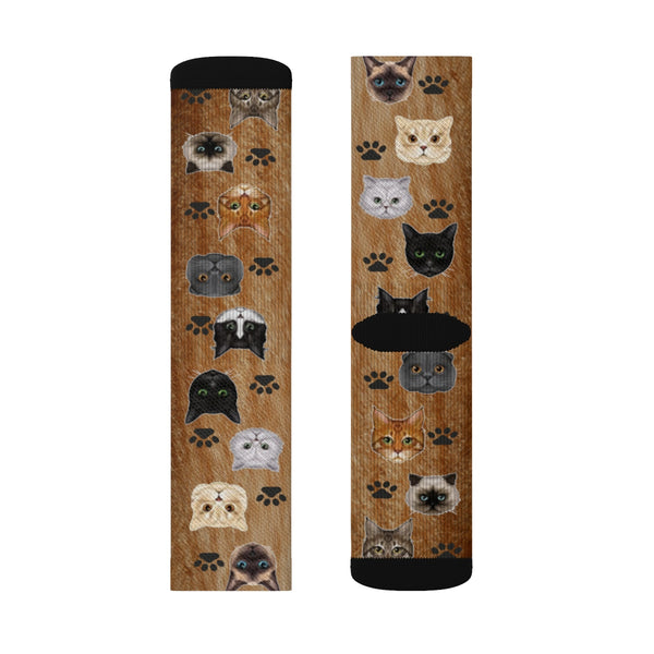 Crazy Cat Lady Man Dude Sublimation Socks - silverageproducts.com