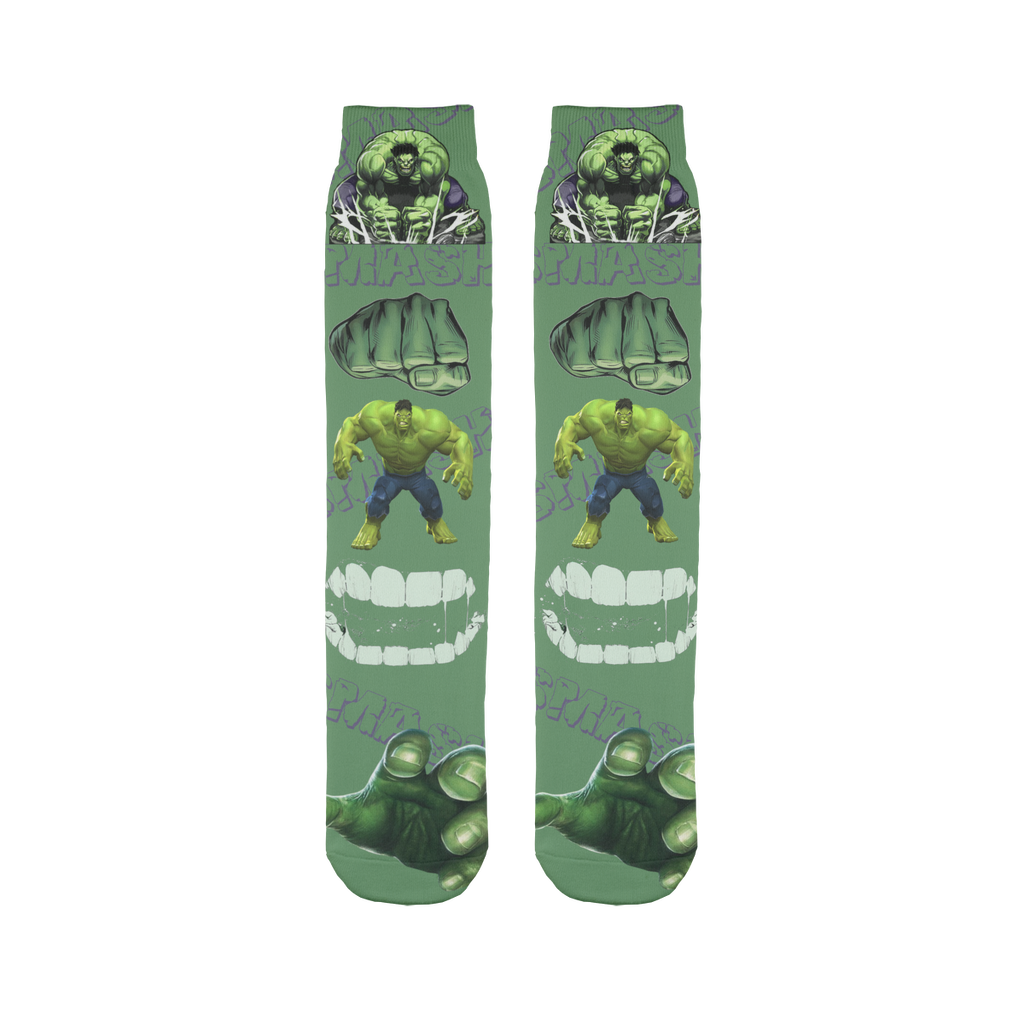 Incredible hulk Avengers Marvel Sublimation Tube Sock - silverageproducts.com