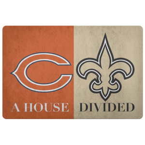House Divided Man Cave Decor Saints Doormat - silverageproducts.com