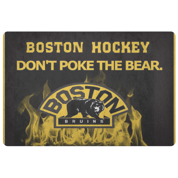 Boston Bruins Hockey Front Door Mat Welcome Porch Doormat Housewarming Gift Don't Poke The Bear NHL Entryway Decor Hockey Lover Customized - silverageproducts.com