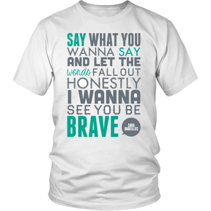 Sara Bareilles I Wanna Be Brave Music Gift T-Shirt  Mens - silverageproducts.com