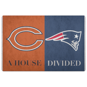 House Divided Man Cave Decor Bears New England Patriots Welcome Man Cave Doormat - silverageproducts.com
