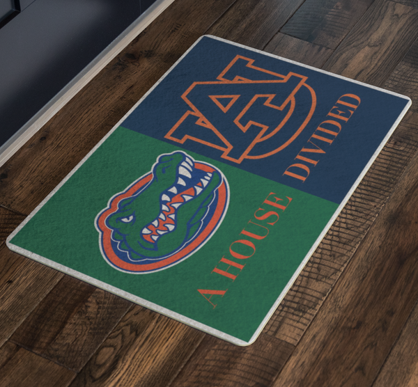 Gators Auburn Tigers House Divided Doormat - silverageproducts.com
