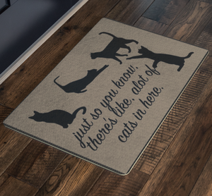 Cat Lover Pet Lover Welcome Doormat 4 Cats - silverageproducts.com