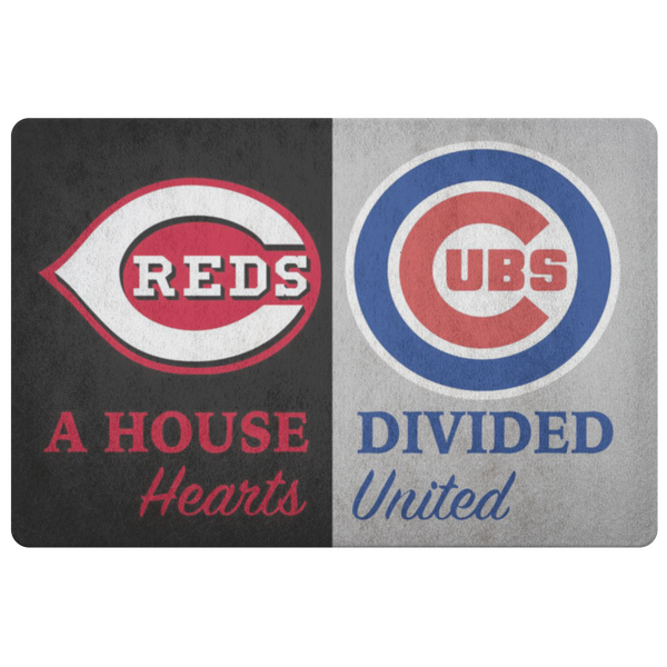 House Divided Man Cave Decor Cubs Cincinnati Reds Hearts Welcome Doormat - silverageproducts.com
