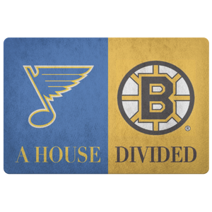 Boston Bruins St Louis Blues Hockey Man Cave Entryway Welcome Doormat - silverageproducts.com