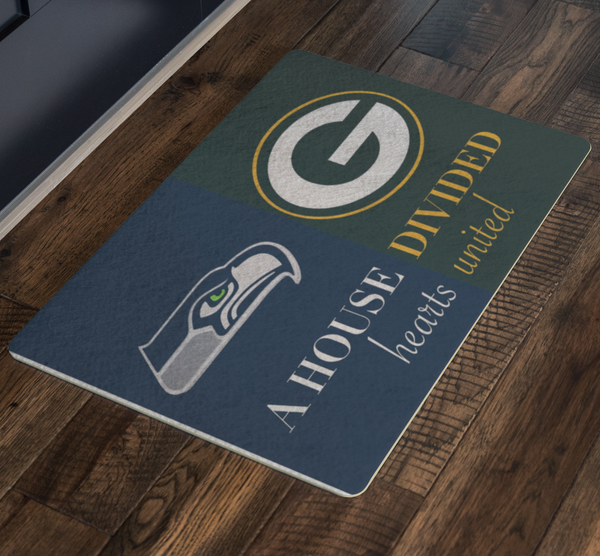 Seahawks Packers Hearts United Doormat - silverageproducts.com