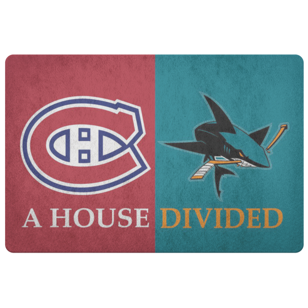 San Jose Sharks Montreal Canadiens House Divided Doormat - silverageproducts.com