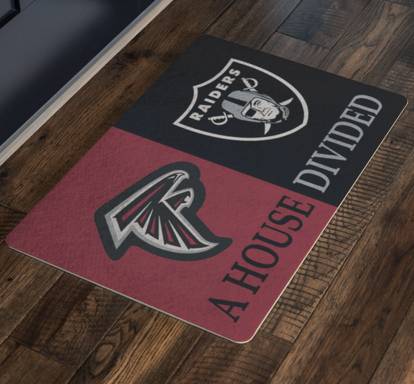Falcons Raiders Doormat Man Cave Decor - silverageproducts.com