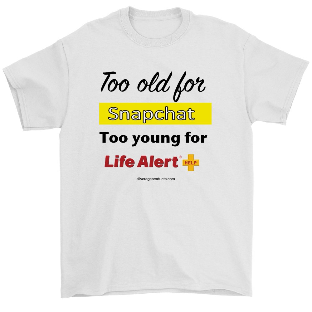 60th Birthday Shirt, 70th birthday Tshirt Grammy Grampy Dad Birthday Tshirt, Too Old For SnapChat Too Young For Life Alert Bday - silverageproducts.com