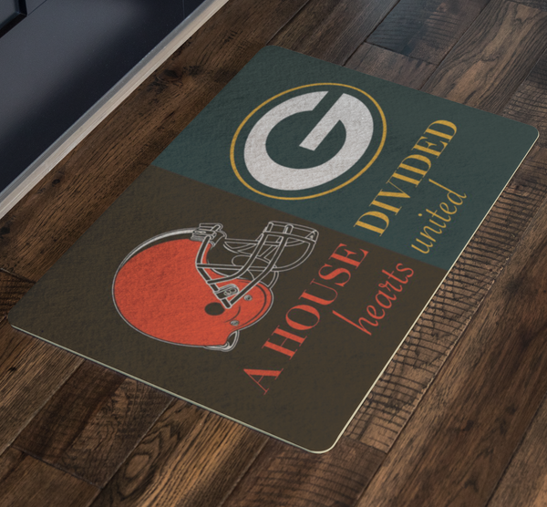 Browns Packers House Divided Doormat - silverageproducts.com