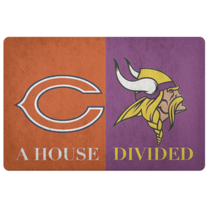 House Divided Man Cave Decor Bears Vikings Doormat - silverageproducts.com