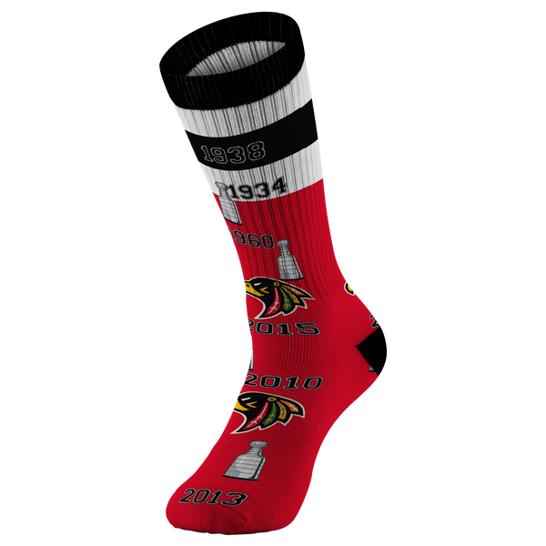 Chicago Black Hawks Stanley Cup NHL Printed Socks - silverageproducts.com