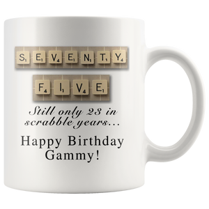 Scrabble Birthday Mug Gammy Aging Humor Coffee Mug - silverageproducts.com