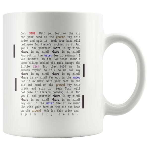 The Pixies Mug Where Is My Mind Music Lyrics Coffee Mug - silverageproducts.com