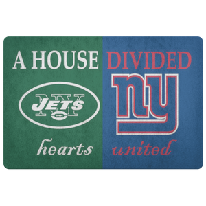 Jets Giants House Divided Hearts United Doormat - silverageproducts.com