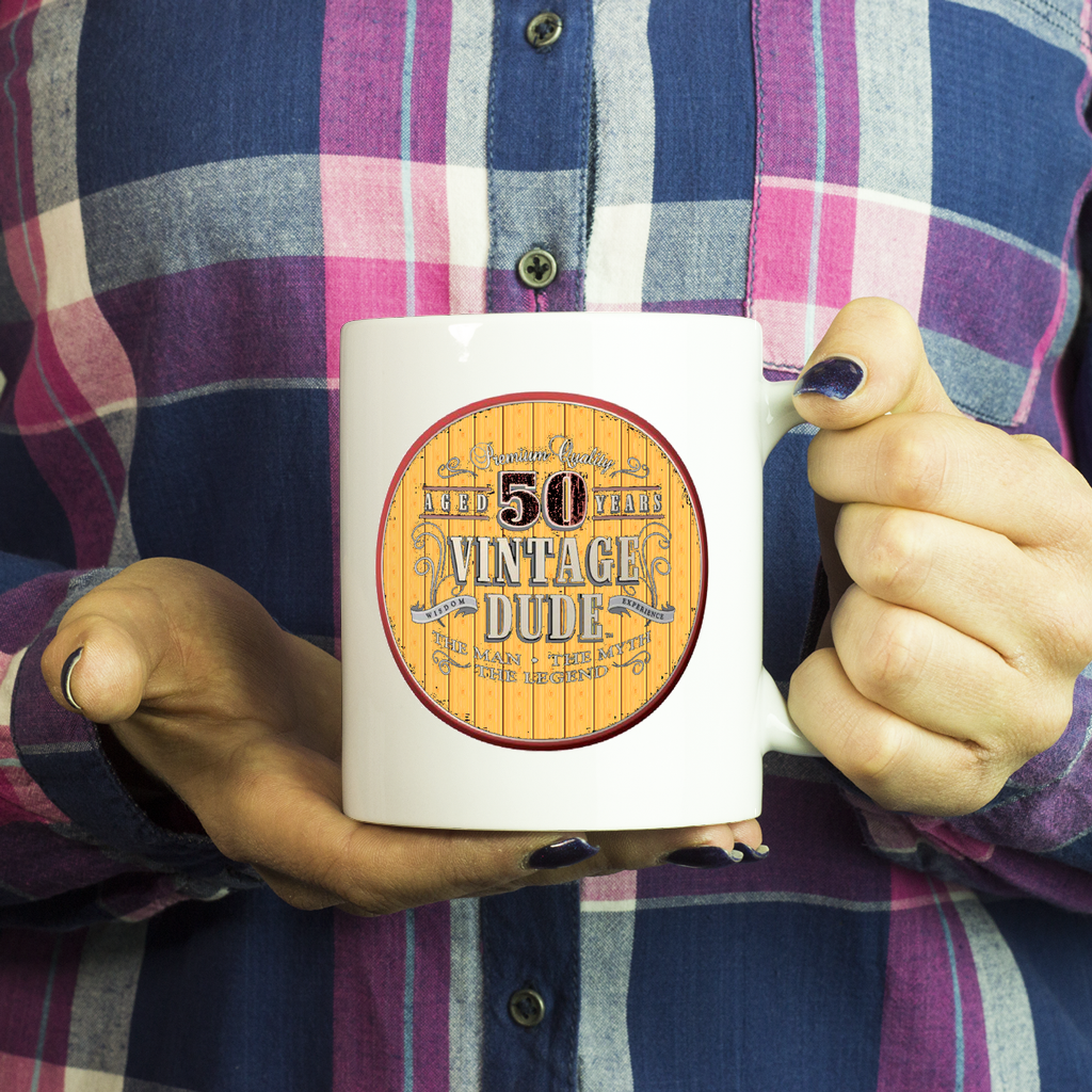50th Mug 1968 Birthday Gift Idea For Dad Turning 50 Vintage Dude Novelty Coffee Tea