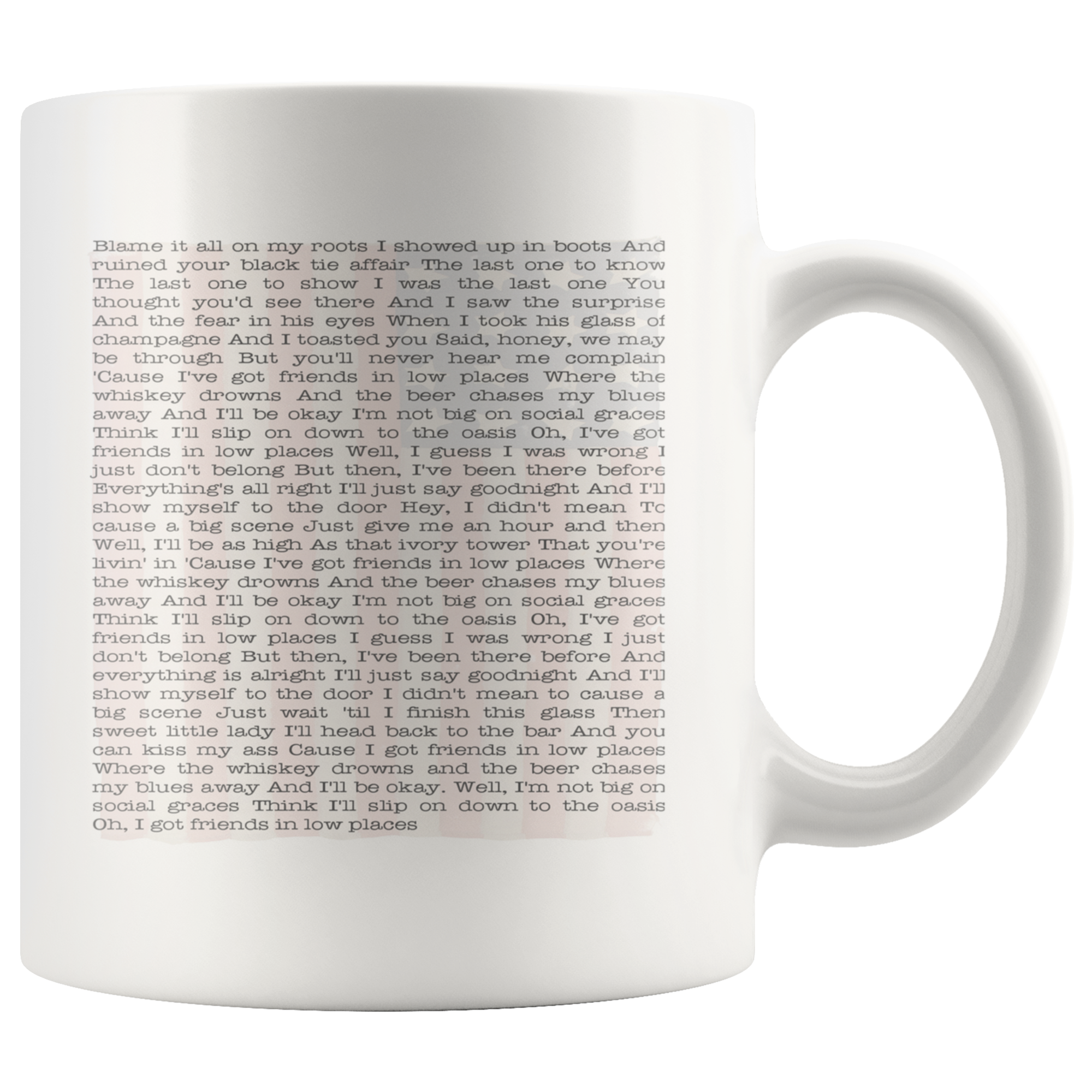 Garth Brooks Friends In Low Places Lyrics Country Music Coffee Mug - silverageproducts.com