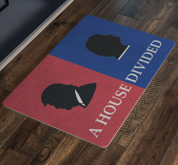 Donald Trump Hillary Clinton House Divided Welcome Doormat - silverageproducts.com