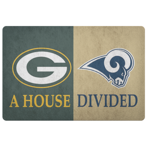 Green Bay Packers Front Porch LA Rams Welcome Football Entryway Man Cave Office Doormat - silverageproducts.com