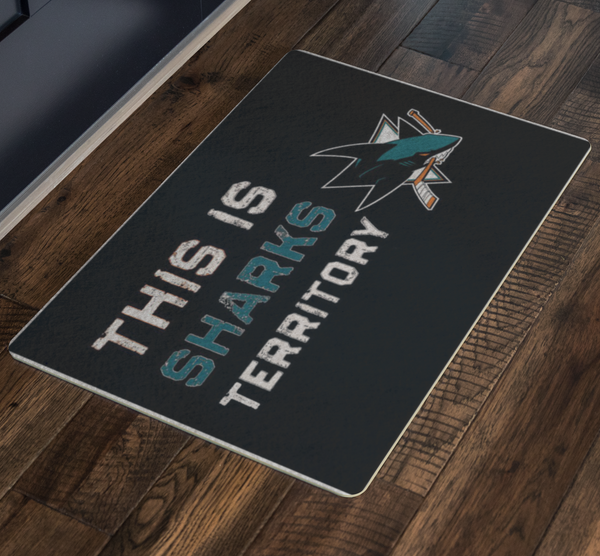 San Jose Sharks Housewarming Welcome Door Mat Man Cave Black - silverageproducts.com